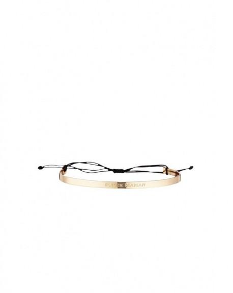 """Bracelet à message """"SUPER MAMAN"""" en Laiton doré"""