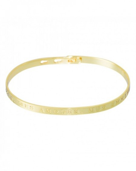 """Bracelet à message """"MES AMIS, MES AMOURS, MES EMMERDES"""" en Laiton doré"""