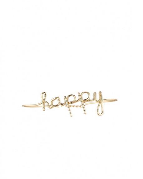 """Bracelet à message """"HAPPY"""" en Laiton doré"""