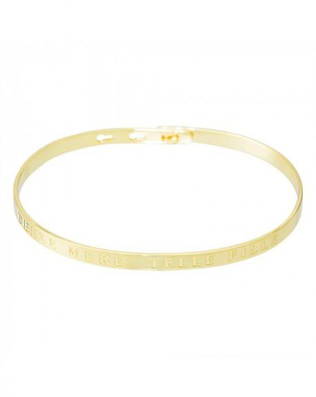"""Bracelet à message """"TELLE MERE, TELLE FILLE"""" en Laiton doré"""