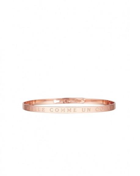 """Bracelet à message """"BELLE COMME UN CŒUR"""" en Laiton rosé"""