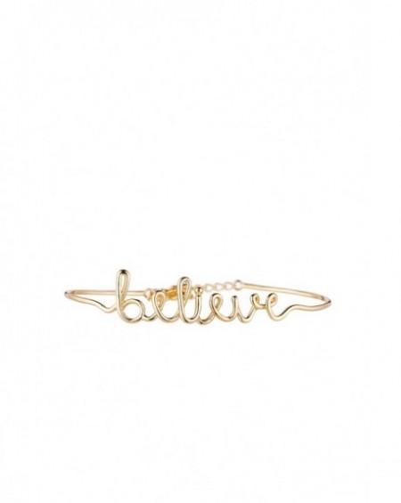 """Bracelet à message """"BELIEVE"""" en Laiton doré"""