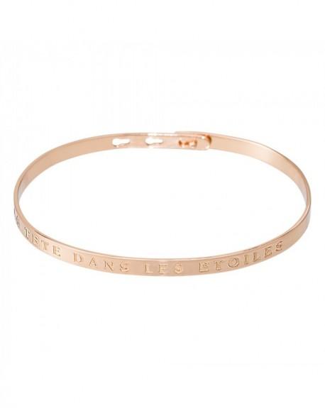 """Bracelet à message """"LA TETE DANS LES ETOILES"""" en Laiton rosé"""