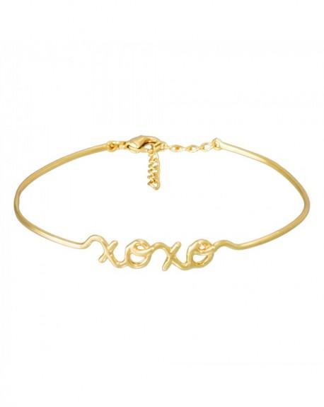 """Bracelet à message """"XOXO"""" en Laiton doré"""