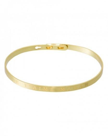 """Bracelet à message """"JE T'AIME MAMAN"""" en Laiton doré"""