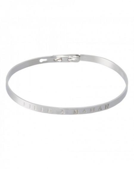 """Bracelet à message """"FILLE À MAMAN"""" en Laiton"""