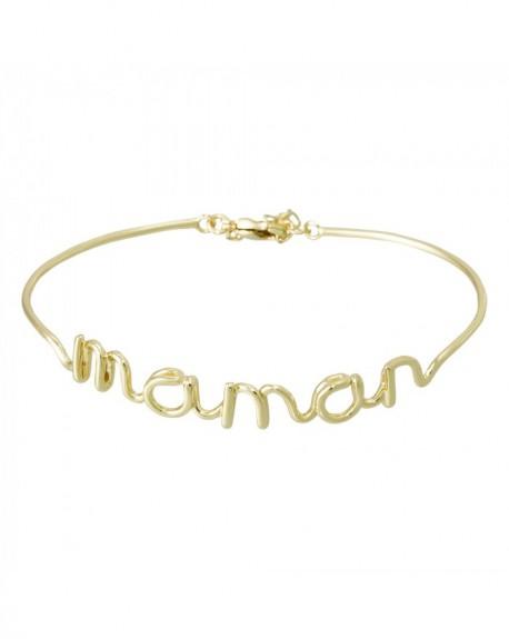 """Bracelet à message """"MAMAN"""" en Laiton doré"""