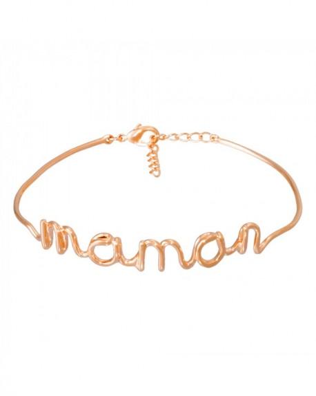 """Bracelet à message """"MAMAN"""" en Laiton rosé"""