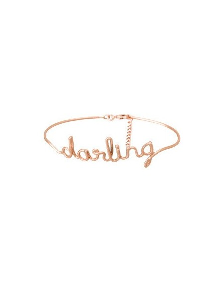 "Bracelet à message ""DARLING"" en Laiton rosé"