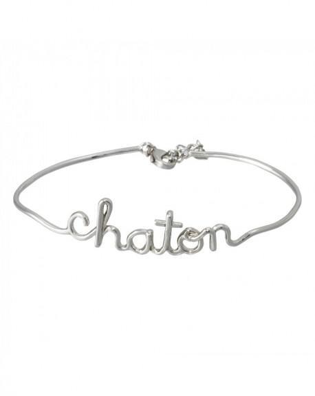 """Bracelet à message """"CHATON"""" en Laiton"""