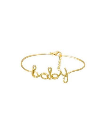 """Bracelet à message """"BABY"""" en Laiton doré"""