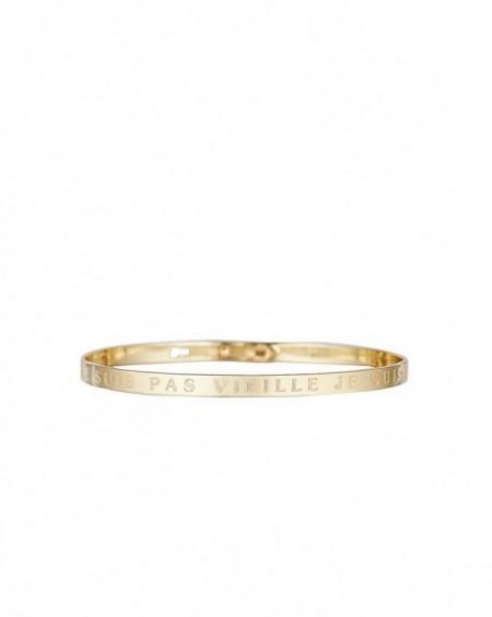"""Bracelet à message """"JE NE SUIS PAS VIEILLE JE SUIS VINTAGE"""" en Laiton doré"""