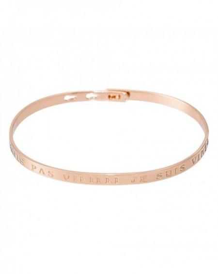 """Bracelet à message """"JE NE SUIS PAS VIEILLE JE SUIS VINTAGE"""" en Laiton rosé"""