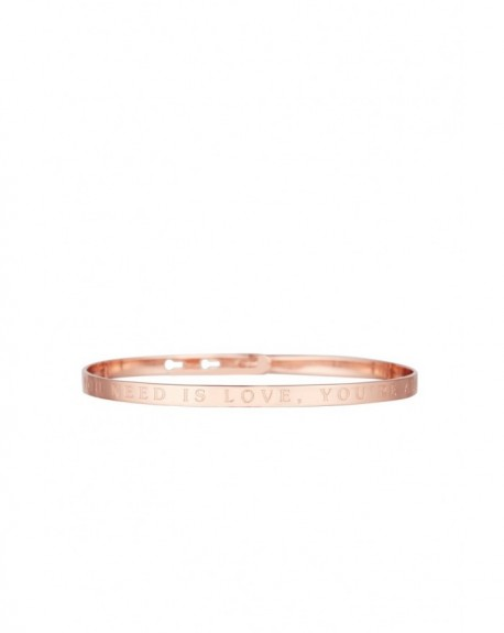 "Bracelet à message ""ALL YOU NEED IS LOVE, YOU'RE ALL I NEED"" en Laiton rosé"