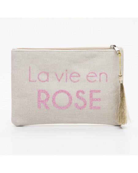 Grande pochette beige message La vie en ROSE rose