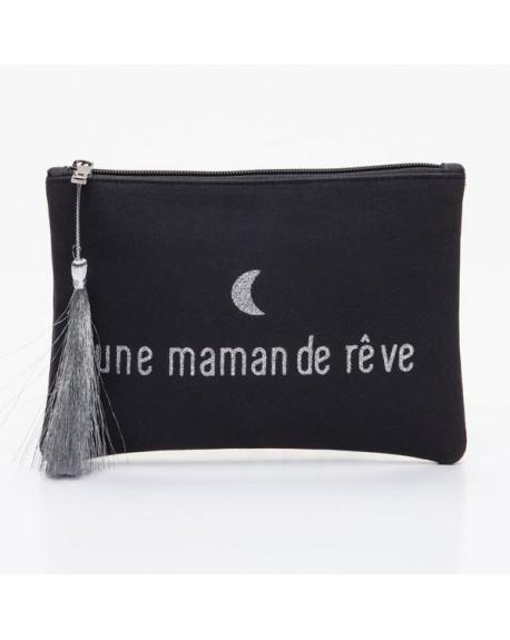 Grande pochette noire message une maman de rêve argenté