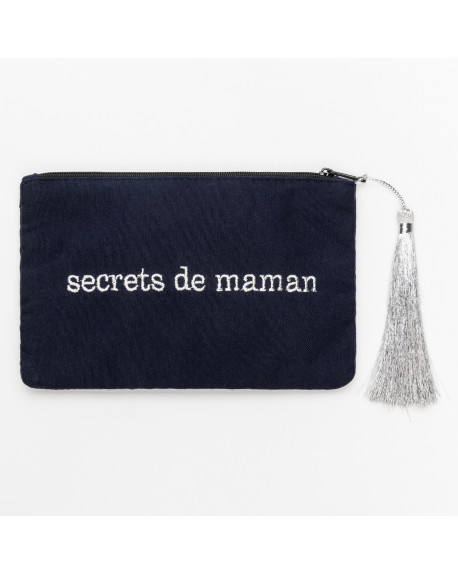 petite POCHETTE bleue marine  secrets de maman  police argentée