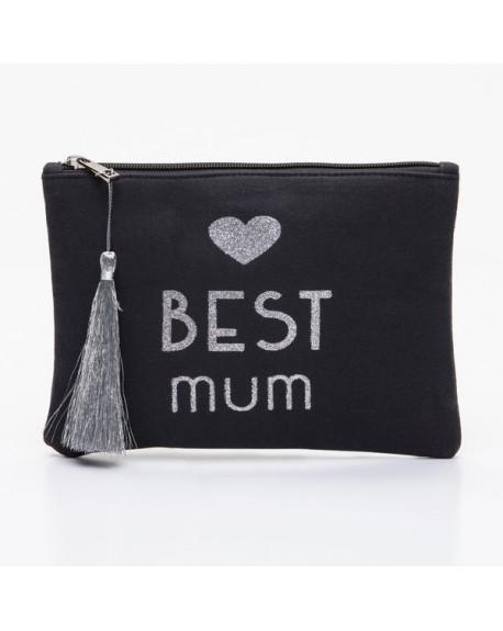 Grande pochette noire message BEST mum argenté