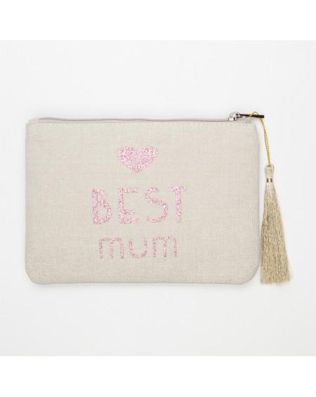 Grande pochette beige message BEST mum rose