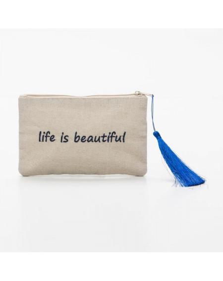 petite pochette beige life is beautiful police bleue marine