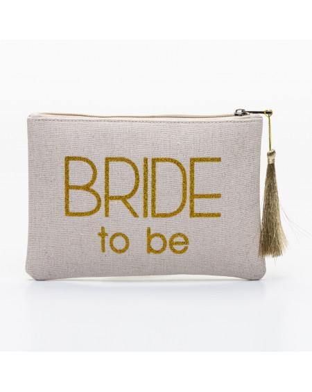 Grande pochette beige message BRIDE to be doré