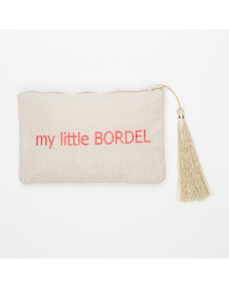 petite beige pochette brodée my little BORDEL  rose