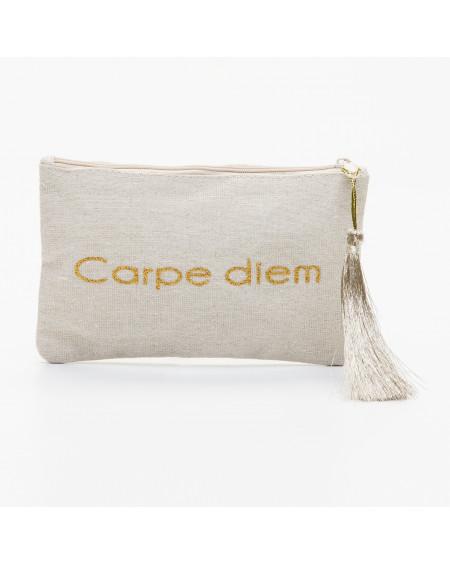 Petite pochette beige message Carpe diem doré