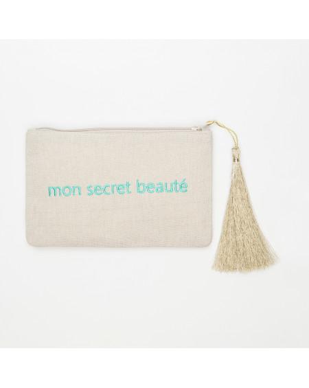 petite beige pochette brodée mon secret beauté  turquoise