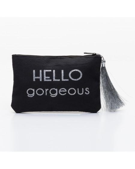 Petite pochette noire message HELLO gorgeous ! argenté