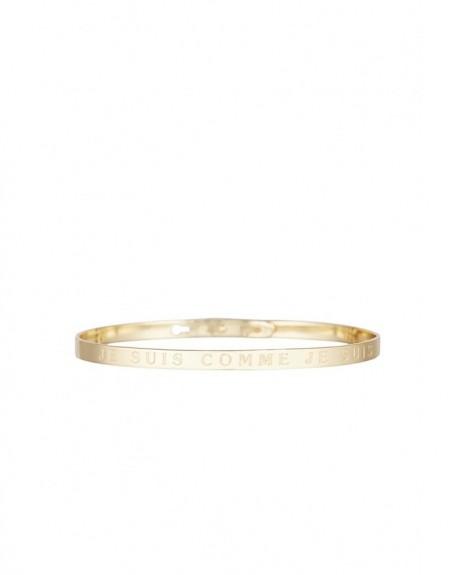 """Bracelet à message """"JE SUIS COMME JE SUIS"""" en Laiton doré"""