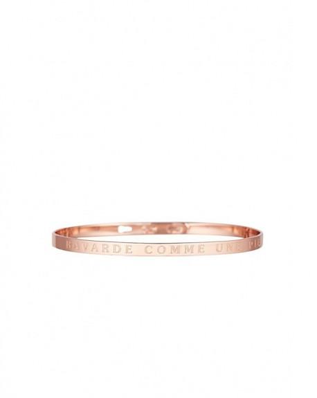 """Bracelet à message """"BAVARDE COMME UNE PIE"""" en Laiton rosé"""