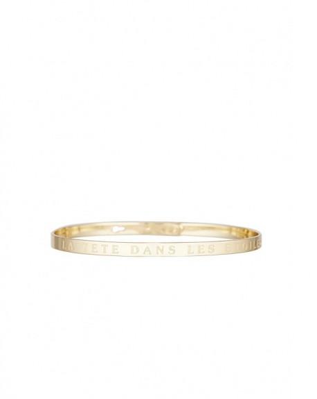 """Bracelet à message """"LA TETE DANS LES ETOILES"""" en Laiton doré"""