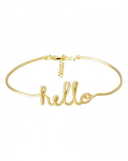 """Bracelet à message """"HELLO"""" en Laiton doré"""
