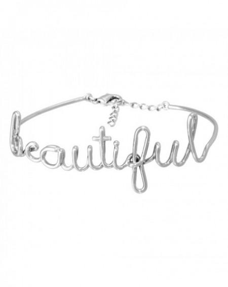 """Bracelet à message """"BEAUTIFUL"""" en Laiton"""