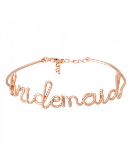 """Bracelet à message """"BRIDEMAID"""" en Laiton rosé"""