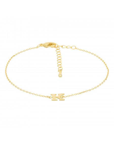 Bracelet doré lettre K Zirconium