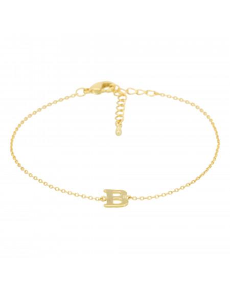 Bracelet doré lettre B Zirconium