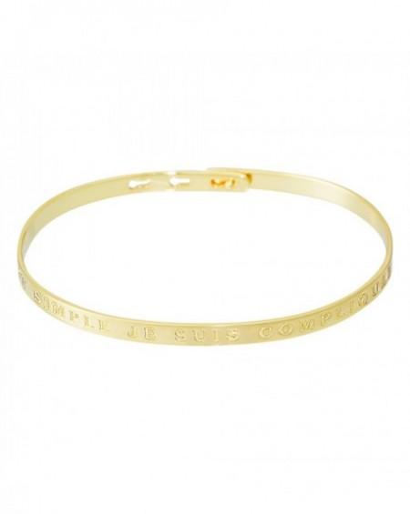 """Bracelet à message """"C'EST SIMPLE JE SUIS COMPLIQUEE"""" en Laiton doré"""